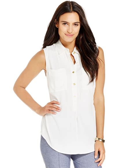 sleeveless button blouse jones york sleeveless button front blouse in white lyst
