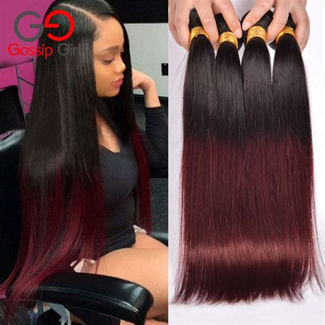 Two Tone Sew In Hairstyles by 7a Hair 1b99j Burgundy 4 Bundles