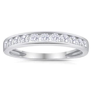 sk inc 1 2ctw diamond channel wedding band in 10k white gold