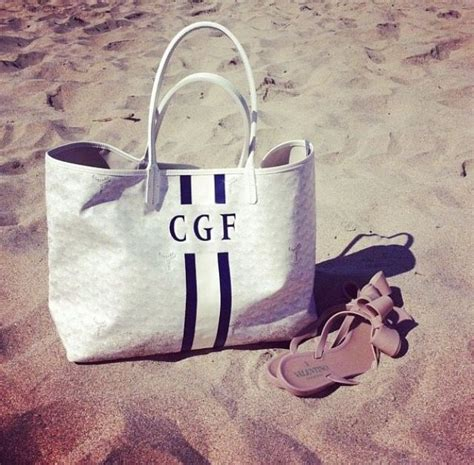 monogrammed beach bag style   bags goyard tote