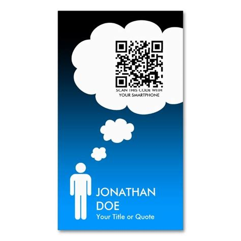 qr code thought bubble male stick figure double sided standard business cards pack