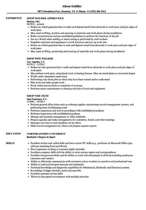 Shop Foreman Resume by Shop Resume Sles Velvet