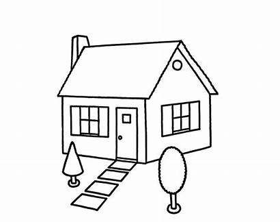Coloring Drawing Pages Houses Draw Clipart Colouring