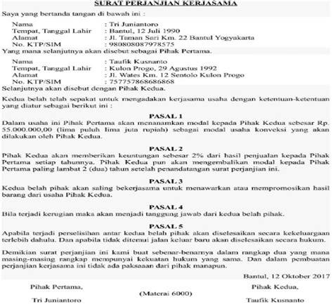 contoh surat perjanjian kerjasama pinjam bendera