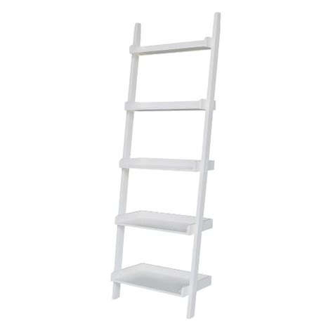target white bookcase 5 tier solid wood leaning bookcase white international