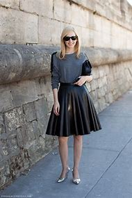 A Line Pleated Leather Skirt