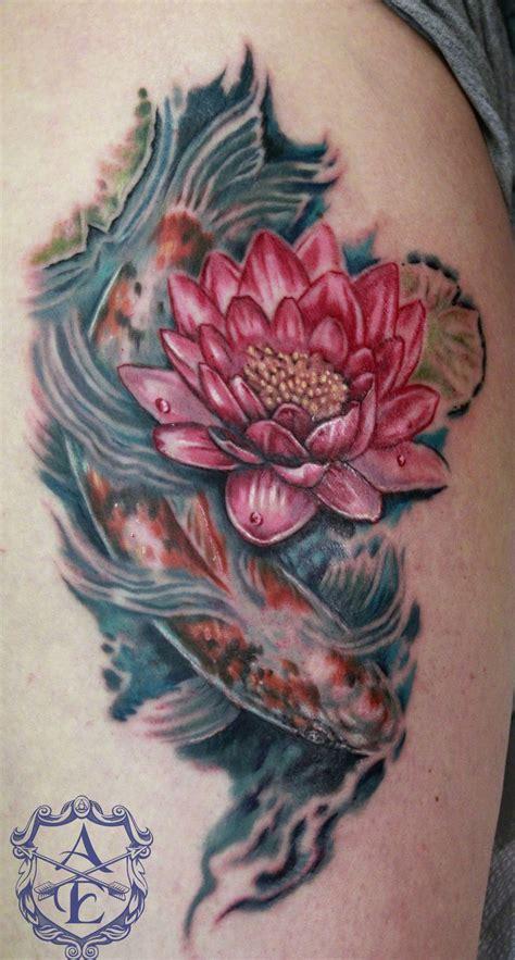 lotus flower  koi fish tattoo  seanspoison