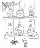Potion Coloring Magic Alchemy Witch Pozione Bottle Magica Poison Dryck Pagina Met Vector Kleurplaat Illustratie Coloritura Magische Voorraadkast Illustrationer Template sketch template