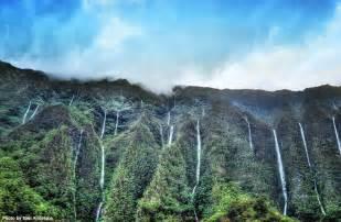 Hawaii On Oahu Koolau Mountain Waterfalls