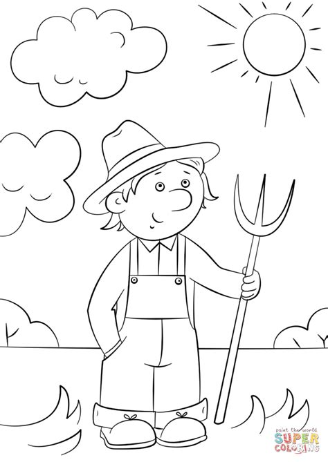 cartoon farmer  pitchfork coloring page