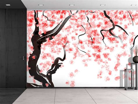 japanese cherry tree blossom  watercolor painting style