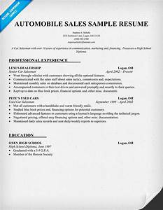 salesperson resume description With sample resume for automobile sales executive