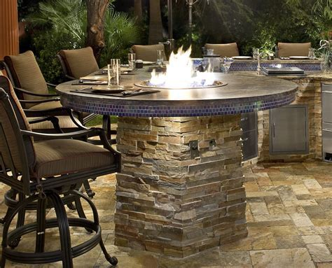 Fire Pit Built In to Barbecue Island
