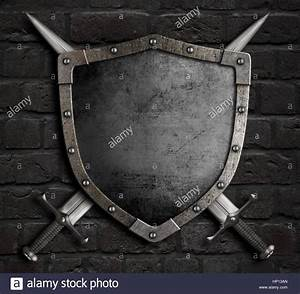 medieval shield with crossed swords over armour 3d ...