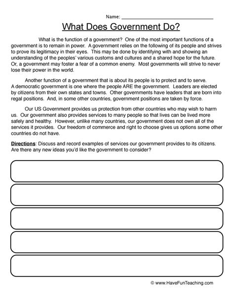 4th grade social studies worksheets on government