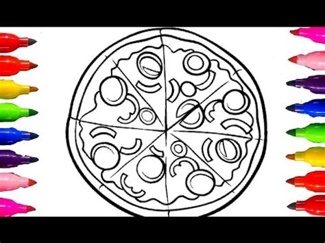 draw cheesy pizza coloring book  kids learning