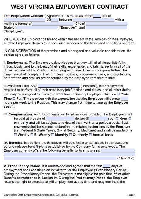 west virginia employment contract template  word