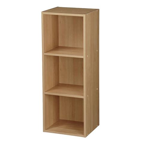 Wooden Oak White Book Shelves Strong Unit Bookcase