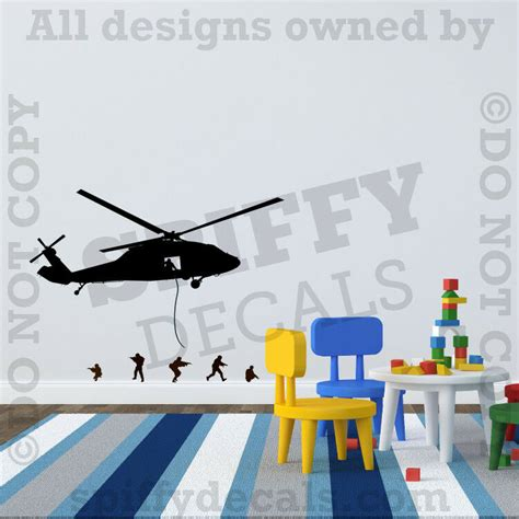 helicopter army men marines green navy seals vinyl wall