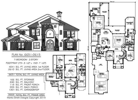 7 Bedroom Homes by Large House Plans 7 Bedrooms New Home Plans Design