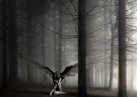 Angel The Forest Black White Fantasy Art Print