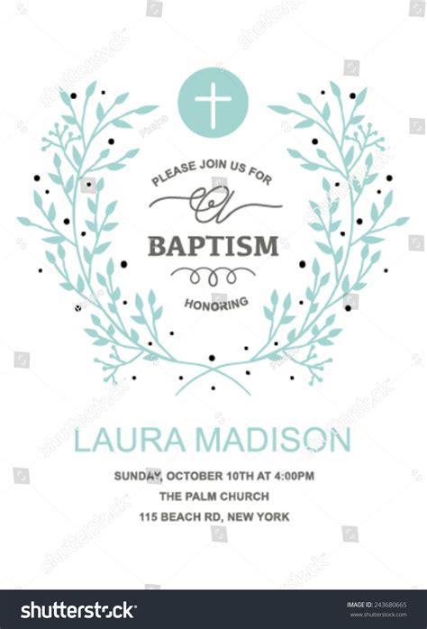 Baptism Invitation Design Wreath On White Stock Vector