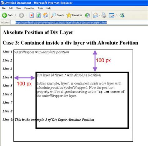 Html Div Position Absolute absolute position of div layer