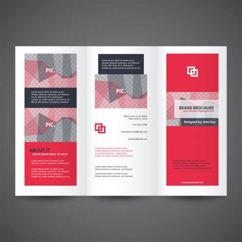 template plaquette indesign red trifold brochure template vector free download