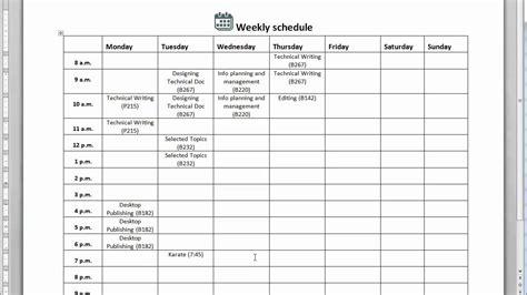 create  weekly schedule youtube