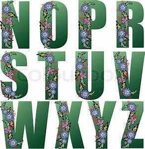 big green letters of the alphabet decorated with flowers With decorated letters ofthe alphabet