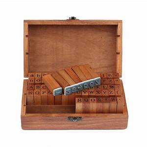 big sale 70pcs vintage diy number and alphabet letter wood With large letter stamps for wood