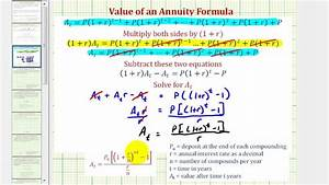 Derive The Value Of An Annuity Formula  Compounded Interest