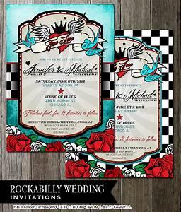 Rockabilly wedding invitations blue or checkered by for Rockabilly wedding invitations free