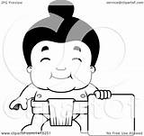 Sumo Wrestler Standing Cartoon Clipart Lineart Illustration Blank Royalty Vector Thoman Cory sketch template