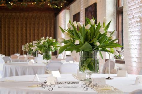 White Tulip Table Arrangements, Spring Wedding
