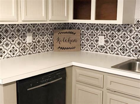 Stencils Add Style And Drama To A Kitchen Backsplash