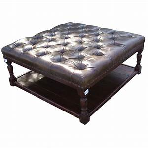 Vintage Leather Ottoman With Shelf At 1stdibs