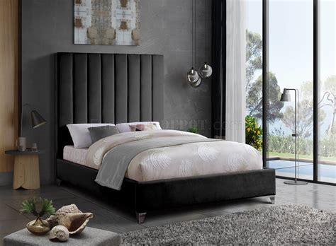 upholstered bed  black velvet fabric  meridian