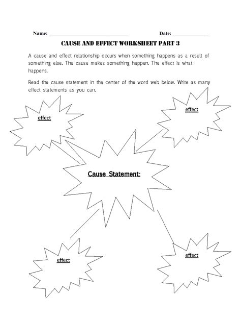 reading worksheets   effect worksheets