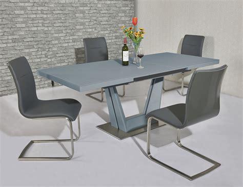 matt grey glass dining table  grey gloss chairs