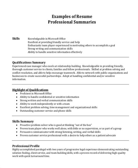 Professional Resume Summary by Professional Resume Exle 7 Sles In Pdf