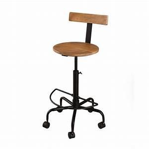 Bar A Roulette : chaise de bar sur roulettes bois fer westwood tousmesmeubles ~ Teatrodelosmanantiales.com Idées de Décoration