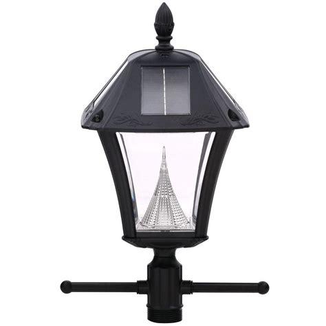 gama sonic baytown ii solar black resin outdoor post light
