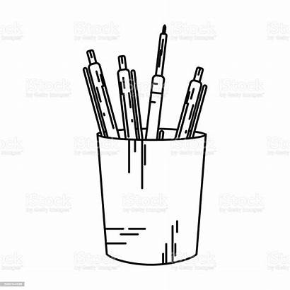 Pens Stationery Line Stand Glass Pencils Thin