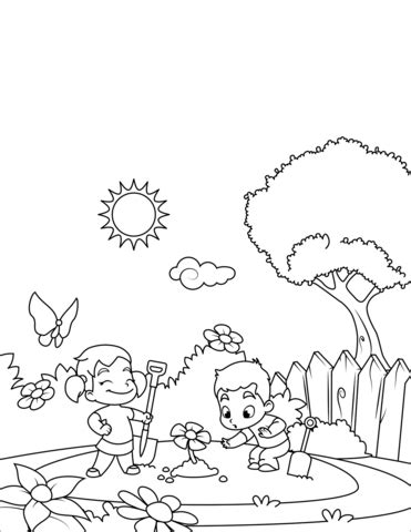 boy  girl plant flowers coloring page  printable coloring pages