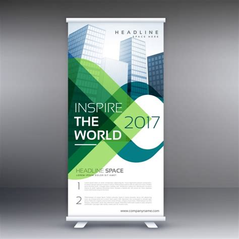 How To Design A Poster Board Presentation Roll Up With Green Wavy Shapes Vector Free Download