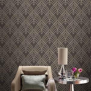 Papier Peint Art Deco : rasch astoria art deco geometric wallpaper glitter silver ~ Dailycaller-alerts.com Idées de Décoration