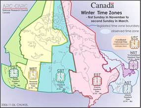 Canada Time Zone Map