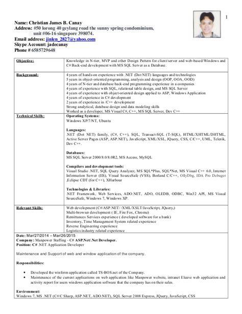 resume c c developer
