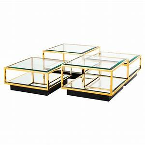 eichholtz tortona hollywood regency gold beveled glass top With two level glass coffee table